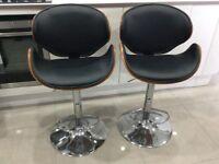 2 black breakfast bar stools