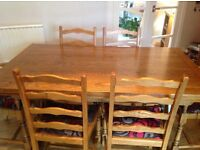 JAYCEE DINING TABLE, 4 CHAIRS & 2 CARVERS.