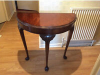 MAHOGANY DEMI LUNE SIDE TABLE ON CABRIOLE SUPPORTS