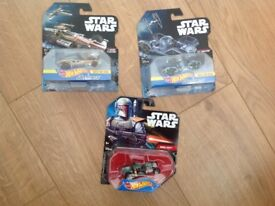 3x Star Wars Hotwheels Cars