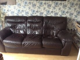 Chocolate 3 seater leather sofa