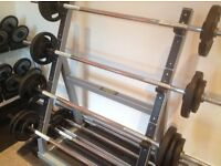 Technogym barbells and rack