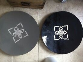 2 Large Ethnic Decorative Distressed Trays Plates TK MAXX for Dining or Coffee Table