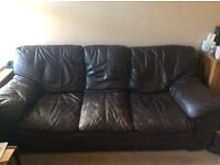 Leather 3 seater sofa and chair, free to collector