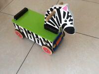 Wooden Zebra Ride On