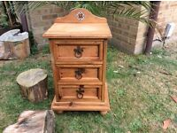 SOLID WOODEN JALI STYLE THREE DRAWER BEDSIDE CABINET