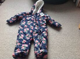 3-6 months baby fur lined all in one. Unused with with tags