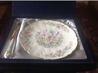For Sale Aynsley Wild Tudor Cake Plate and matching Cake Slice as new. In original box unused.