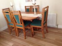Dining table,extending, 6 chairs,solid pine
