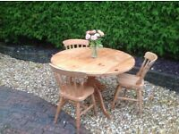 QUALITY PINE TABLE AND CHAIRS--free delivery