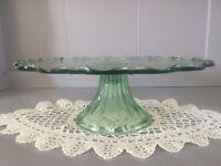 Green Glass Pedestal Cake Stand.