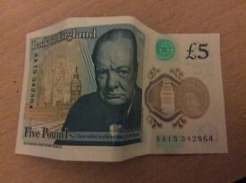 New release AA £5 note