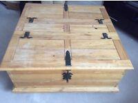 Solid Pine wood storage table.