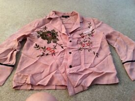 TopShop pink embroidered shirt size 8