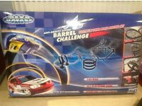Scalextric style Mega Motors racing track - a Barrel Challenge