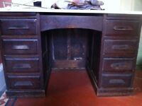 DIY Project Antique ABBESS Teachers Executive Pedestal Desk Bureau Writing Table Drawers Needs TLC