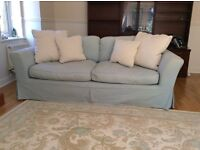 Duck Egg three seater Sofa with cushions.