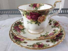 Royal Albert Bone China Trio. Old Country Roses 1st Quality.