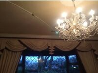 Cream and maroon damask curtains and accessories