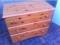 Three drawer pine chest
