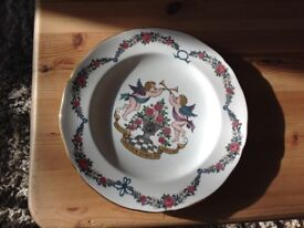 VERY NICE CHINA THINGS AND AN OLD BRASS LAMP ,CONVERTED TO ELECTRIC ,NICE FOR A COTTAGE !