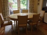 FRENCH CHERRYWOOD DINING TABLE AND 6 CHAIRS BY GRANGE FRANCE