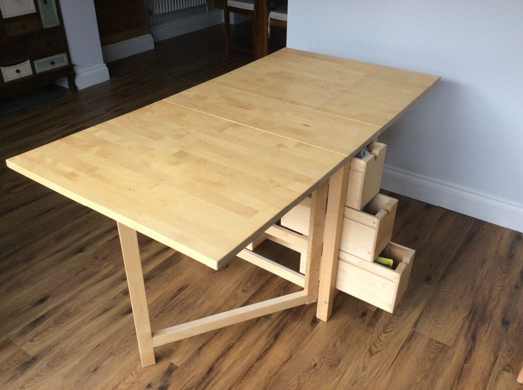 Ikea norden gateleg extending dining table wood birch for Extendable table ikea