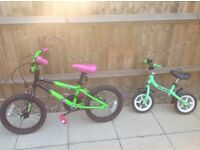 2 CHILDRENS/BOYS BICYCLES - AS SHOWN IN THE PICTURES INCLUDING ONE BALANCE BIKE