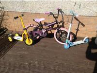 Girls bike and 2 Scooters