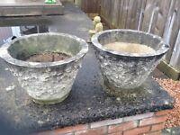2 very heavy graden stone pots