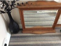 Beautiful solid antique pine mirror with shelf.