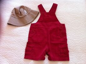 Jojo Maman Bebe boys' short dungarees and sun hat, size 18-24 months
