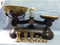 Traditional cast iron and brass kitchen scales