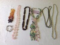 Gemstones necklaces (six) and bracelet