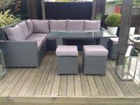 Grey rattan garden patio or conservatory dining set £350 tel 07966921804