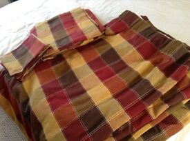"Stylish red/brown/mustard square/check design curtains. 1 pair 72""x72"" and 1 pair 42""x54""."