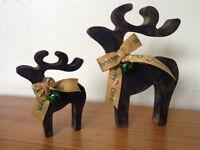christmas decorations star gazing reindeer pair black gold green bell