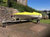 14 ft Fletcher Speedboat with Good Trailer .