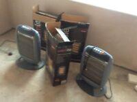 Portable electric heaters 3 are halogen 1600watt and 1 is convector 2000 watt