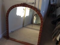 Large overmantle mirror - wood surround