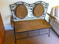 Garden Bench Wrought Iron and Wicker