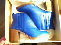 Brand new Bertie cobalt blue leather ankle boots