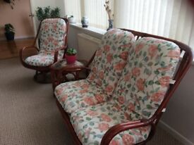 Cane furniture: 2 armchairs and 1 2 seater settee