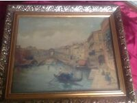 Beautiful Large Antique Painting of Venice