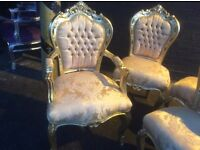 Gorgeous French gold style chair with arms
