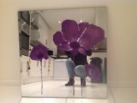 Wall Mirror with Purple beaded flowers