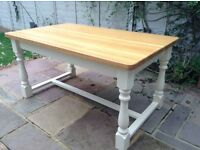Dining / Farmhouse Kitchen Table Solid Oak Top Refectory Style