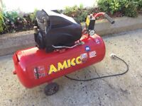Amico 50 litre electric air compressor 94 dB easy transported good condition.