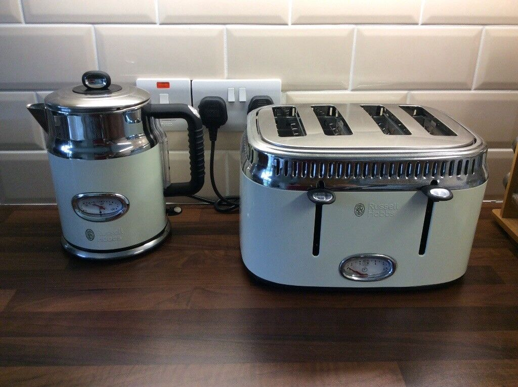 Rus Hobbs Retro Kettle And Toaster Cream