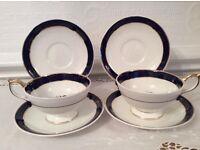 Coronet Bone China Tea Cups & Saucers
